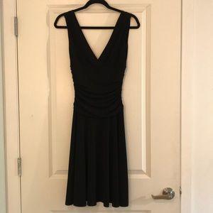 Black low v-neck dress